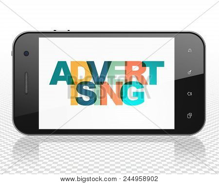 Advertising Concept: Smartphone With Painted Multicolor Text Advertising On Display, 3d Rendering