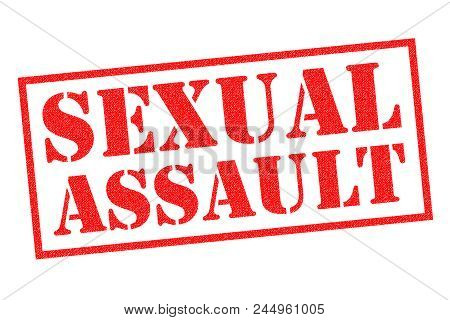 Sexual Assault Red Rubber Stamp Over A White Background.