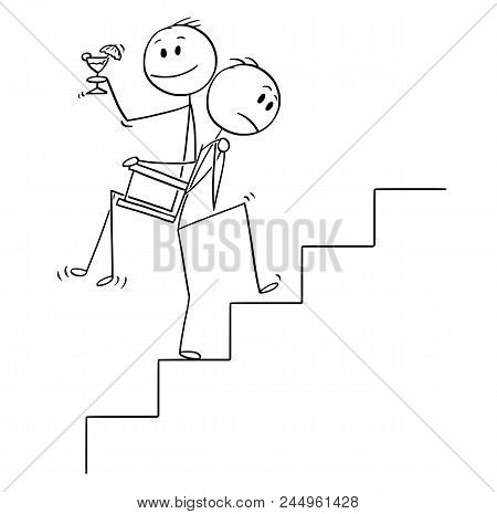 Cartoon Stick Drawing Conceptual Illustration Of Man Or Businessman Carrying Another Man, Manager Or