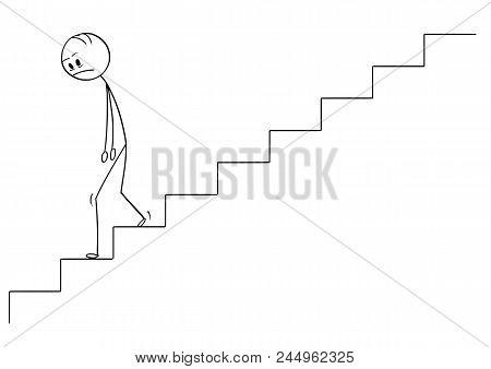 Cartoon Stick Drawing Conceptual Illustration Of Sad And Depressed Man Or Businessman Walking Downst