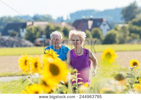 Cheerful senior couple with a healthy lifestyle jogging together side by side outdoors in the countryside in summer