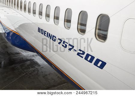 KEFLAVIK, ICELAND - MAY 8, 2018: Boeing 757 Airliner, closeup of the type label on the side of the body. Operated by Icelandair.