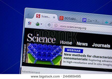 Ryazan, Russia - June 05, 2018: Homepage Of Sciencemag Website On The Display Of Pc, Url - Sciencema