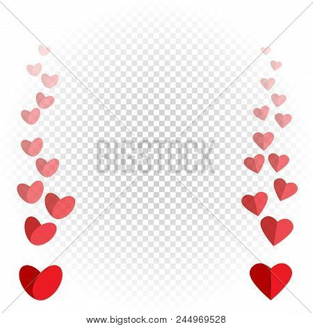 Hearts Like Flies Up And Disappears. Red Love Heart Fly On White Transparent Background