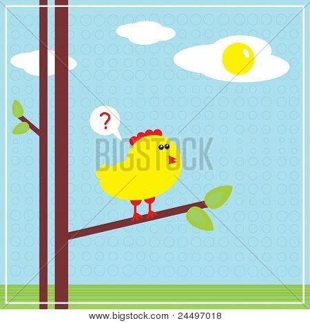 Chicken and fried eggs in the sky. (Easter stories) Vector illustration. poster