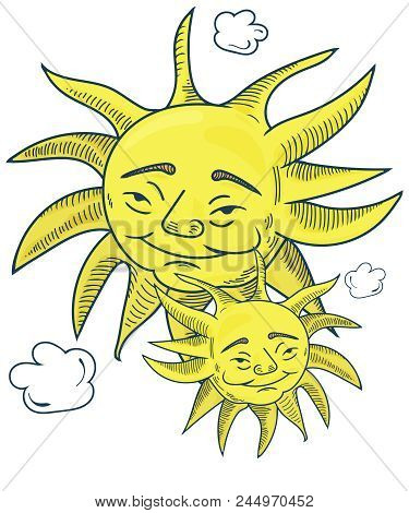 Vector Hand Drawn By Pencils Illustration For Pagan And Wiccan Community: Midsummer Solstice Sun Fac