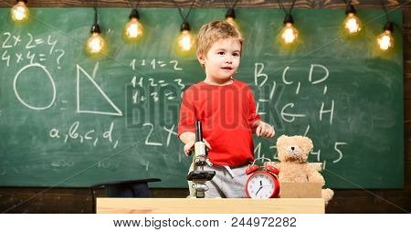 Child, Pupil On Calm Face Near Microscope. Enthusiastic Pupil Concept. Kid Boy Near Microscope In Cl
