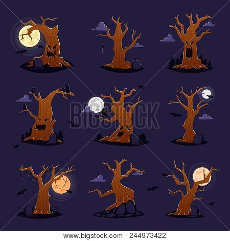 Halloween Tree Vector Scary Character Treetops Of Horror In Spooky Forest Illustration Set Of Forest