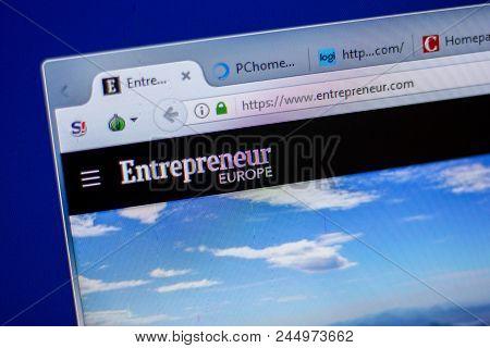 Ryazan, Russia - June 05, 2018: Homepage Of Entrepreneur Website On The Display Of Pc, Url - Entrepr