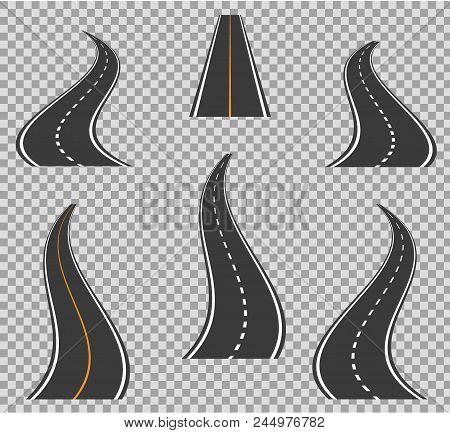 Road Icons Footpath Bending And High Ways. Road Curves Geometric Design Vector Illustration. Street