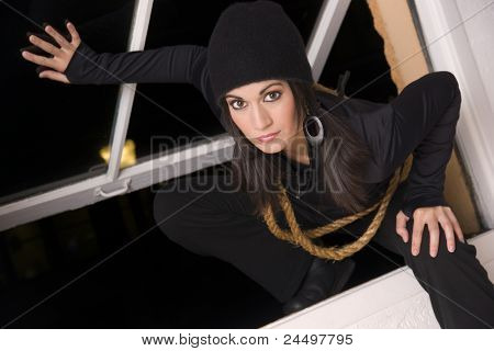 Female Intruder Sneaks in Through Open Window Thief Prowler