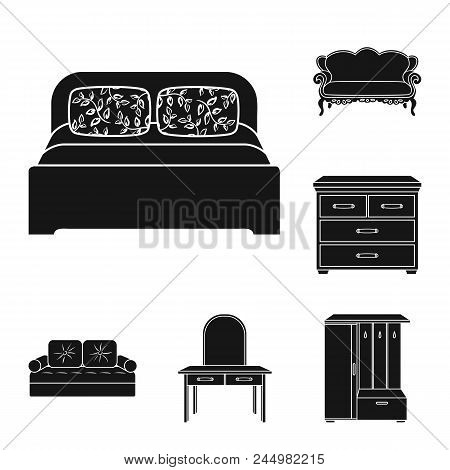 Furniture And Interior Black Icons In Set Collection For Design.home Furniture Vector Symbol Stock