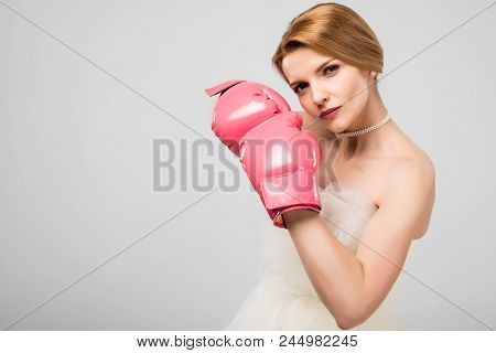Woman In White Wedding Dress And Boxing Gloves, Isolated On Grey, Feminism Concept