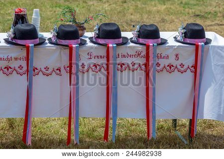 Timisoara,romania-june 10,2018:traditional Hats Used By Ethnic Germans From Banat Area,exhibited At