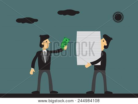 Cartoon Businessman Pays Cash To Worker Carrying A Huge Stack Of Documents. Vector Illustration On C
