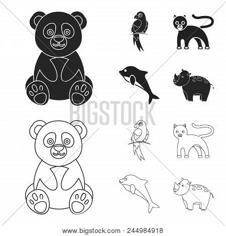 Panda.popugay, Panther, Dolphin.animal Set Collection Icons In Black, Outline Style Vector Symbol St