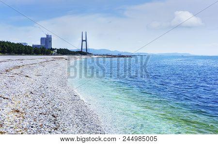 Beautiful Artificial Marble Beach Along The Shoreline Of Rinku Town Viewing Green Pines And Tajiri S
