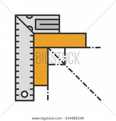 Set Square Color Icon. Angle Measurement. Ruler With Angle Bar. Isolated Vector Illustration