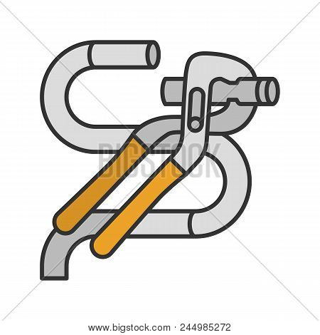 Tongue And Groove Pliers Cutting Wire Color Icon. Jaw Capacity. Isolated Vector Illustration
