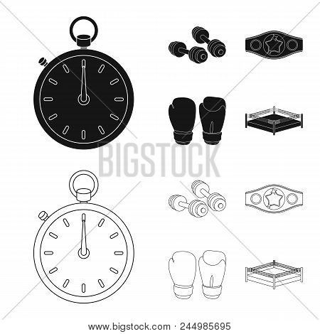 Boxing, Sport, Stopwatch, Watch .boxing Set Collection Icons In Black, Outline Style Vector Symbol S