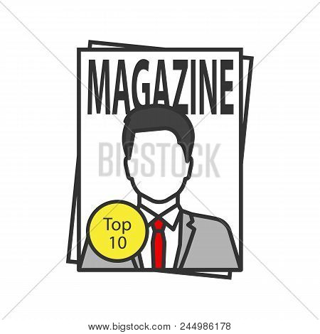 Magazine Color Icon. Tabloid. Periodical Publication With Celebrity Photo. Isolated Vector Illustrat