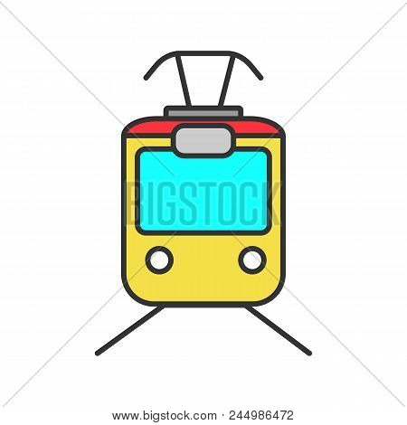 Tram Color Icon. Tramcar, Streetcar. Trolley Car. Isolated Vector Illustration