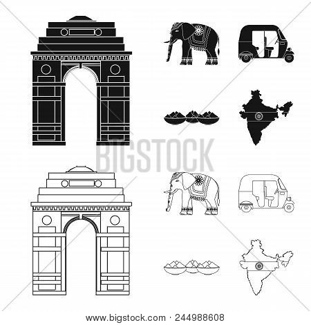 Country India Black, Outline Icons In Set Collection For Design.india And Landmark Vector Symbol Sto