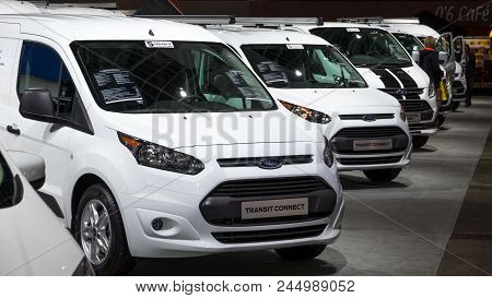 Brussels - Jan 19, 2017: Ford Transit Commercial Vehicles Showcased At The Brussels Motor Show.