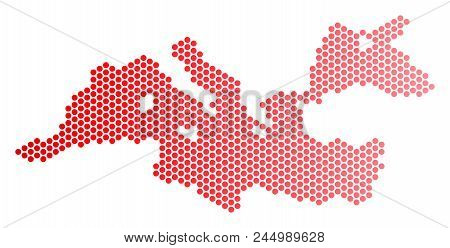 Red Dotted Mediterranean Sea Map. Geographic Plan In Red Color With Horizontal Gradient. Vector Comp