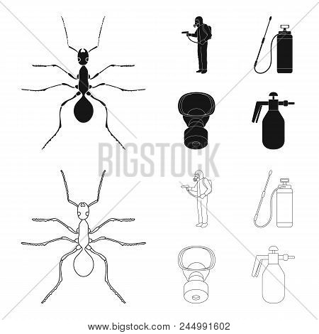 Ant, Staff In Overalls And Equipment Black, Outline Icons In Set Collection For Design. Pest Control