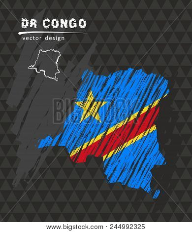 Democratic Republic Of The Congo National Vector Map With Sketch Chalk Flag. Sketch Chalk Hand Drawn