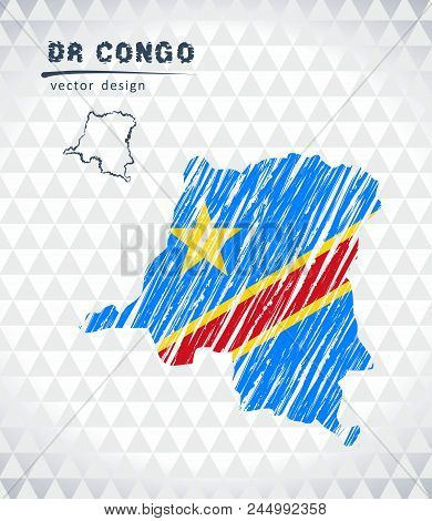 Map Of Democratic Republic Of The Congo With Hand Drawn Sketch Pen Map Inside. Vector Illustration