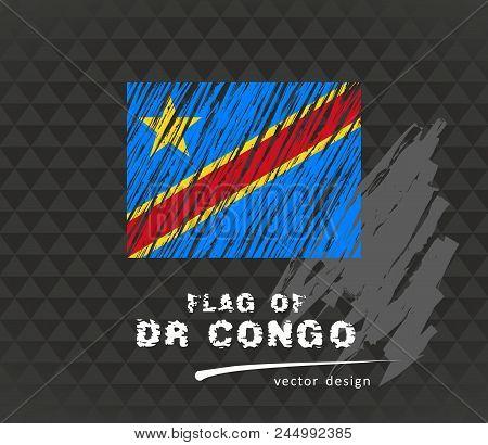 Flag Of Democratic Republic Of The Congo, Vector Pen Illustration On Black Background