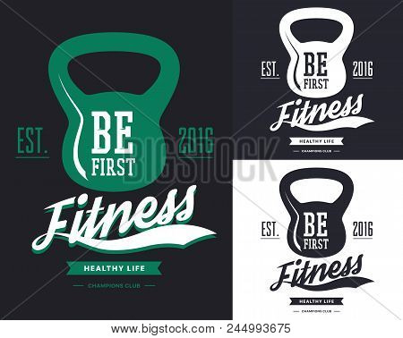 Set of isolated t-shirt prints for fitness center. Badge with rod or poise, weight for t-shirt print. Sportswear gear logotype, gymnasium or gym banner. Branding and cloth advertising theme poster