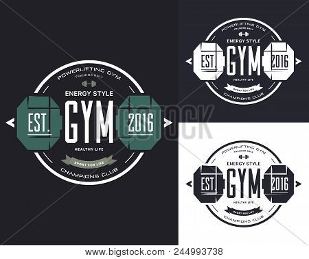 Set Of Isolated Training Equipment For Gym. T-shirt Prints With Barbell Or Sportswear Logo With Dumb