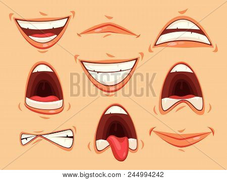 Set Of Isolated Mouth With Lips And Teeth, Tongue Showing Emotions Of Horror And Happiness. Facial S