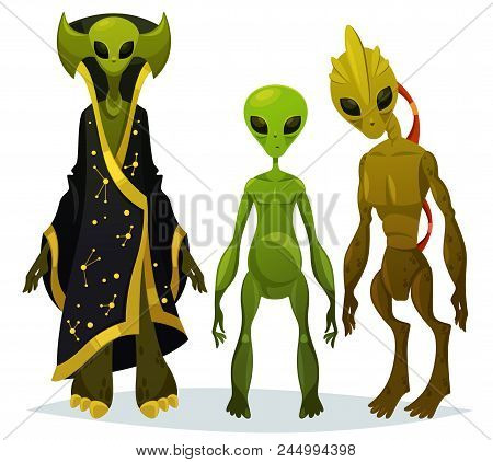 Cartoon Aliens Staring Or Funny Extraterrestrial Standing, Monster From Cosmos With Bathrobe, Ufo Ch