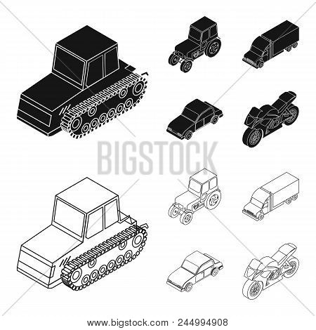 Tractor, Caterpillar Tractor, Truck, Car. Transport Set Collection Icons In Black, Outline Style Vec