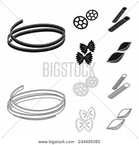 Different Types Of Pasta. Types Of Pasta Set Collection Icons In Black, Outline Style Vector Symbol