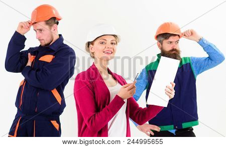 Team Of Architects, Builders With Woman Manager, Boss Looks At Document, Isolated White Background.