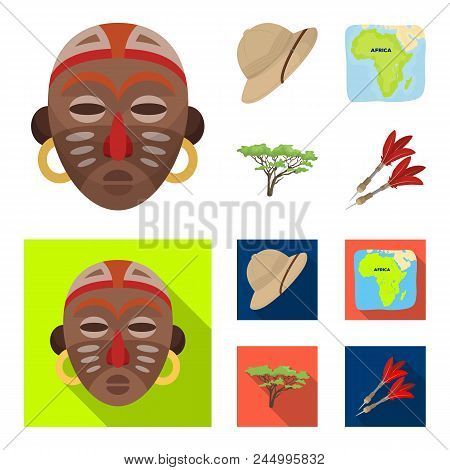 Cork Hat, Darts, Savannah Tree, Territory Map. African Safari Set Collection Icons In Cartoon, Flat