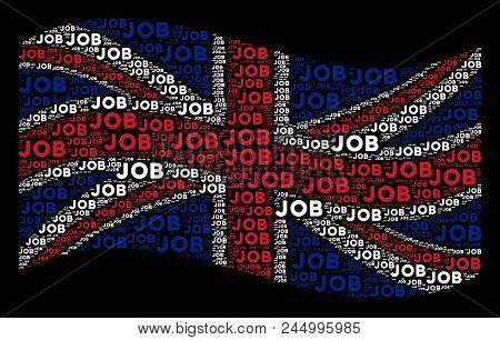 Waving United Kingdom Official Flag On A Black Background. Vector Job Texts Are Arranged Into Mosaic