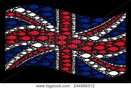 Waving United Kingdom Official Flag On A Black Background. Vector Fish Elements Are Scattered Into C