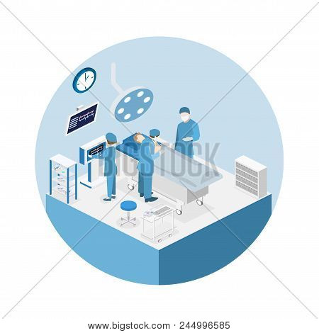Isometric Flat 3d Concept Vector Interior Of Surgery Department. Hospital Plastic Surgery Operating