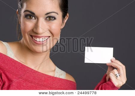 Pretty Woman Holding A Business Card