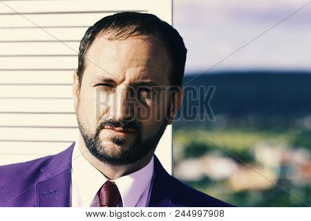 Negotiation And Business Concept Businessman Wears Smart Suit And Tie On Wooden Wall And Nature Back