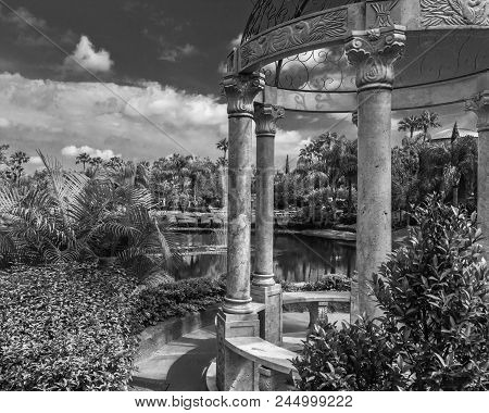 Garden Of Eden Peaceful Setting Overlook Lake In Black And White