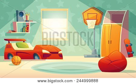 Vector Children S Bedroom Interior With Window - Furniture, Toys For Boy. Shelves With Books, Basket