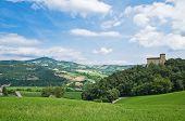 Perspective of Castle of Pellegrino Parmense. Emilia-Romagna. Italy. poster