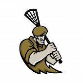 Mascot icon illustration of bust of a commando or elite light infantry or special forces soldier with lacrosse stick viewed from front on isolated background in retro style. poster